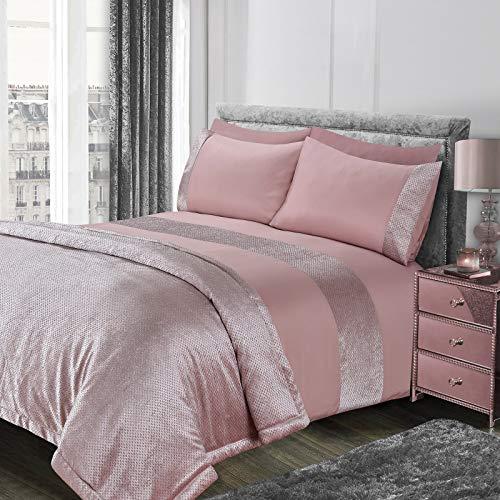 Sienna - Juego de Funda de edredón de Terciopelo con Brillo, Color Rosa