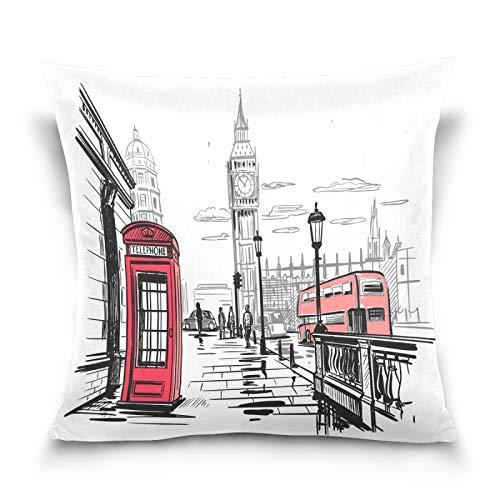 HMZXZ Funda de almohada decorativa de 40,6 x 40,6 cm, acuarela de la ciudad de Londres Big Ben para sofá, dormitorio, sala de estar