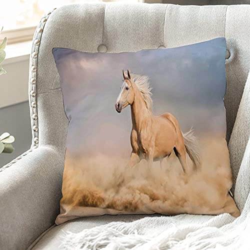 Cushion Covers 45cm x 45cm,Horses,Palomino Horse in Sand Desert with Long Blond Male Hair Po,18x18 inches Soft Polyester Square Decorative Throw Pillow Cases for Living Room Sofa Couch Bed Pillowcases