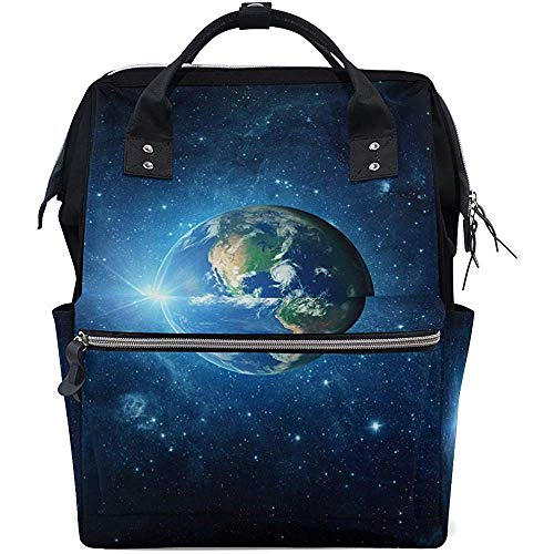 Mummy Backpack Galaxy Earth Zipper Grande Capacité Casual Baby Bags Diaper Backpack Multi-Function Travel Backpacks Mom Dad Unisex 28X18X40Cm