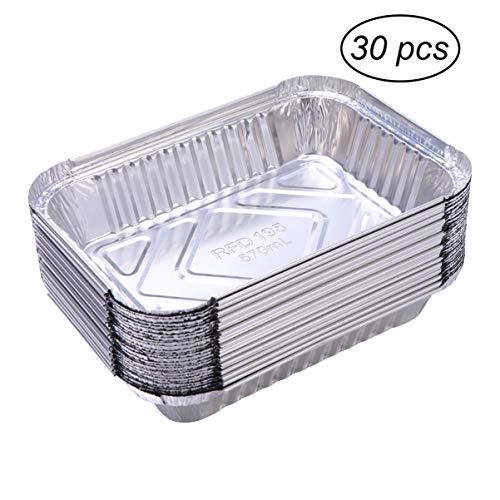 Bestomz Aluminiumschalen, Lebensmittelbehälter, Auffangwannen, Einweg, 570ml, 30Stück