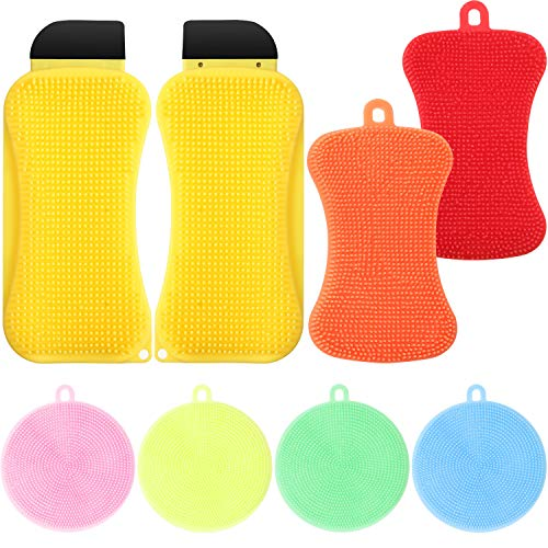 8 Pieces 3-in-1 Silicone Sponge Silicone Kitchen Scrubber Kits Multi-Functional Silicone Sponge Scraper Cleaning Brush Dish Brush Wash Cleaning Tool for Kitchen Bathroom