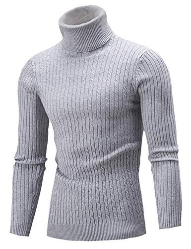 AIDEAONE Männer Rollkragen Turtleneck Strickpullover Stehkragen Pullover Sweater Slim Fit Basic Feinstrick Rollkragenpullover Grau