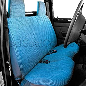 """RealSeatCovers for Front Bench A25 Molded Headrests Small 2"""" to 3"""" Shifter Cutout Seat Cover for Toyota Pickup 1990-1995 (Blue)"""