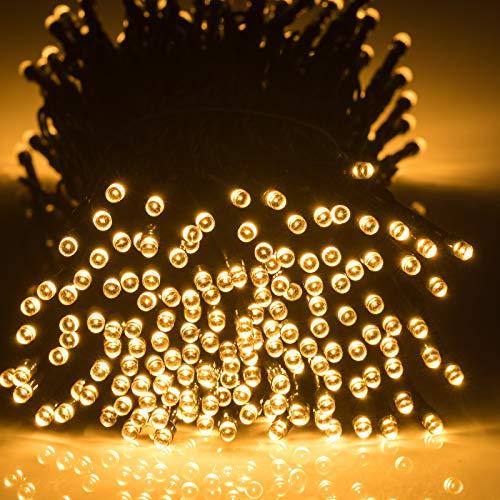 GlobaLink LED Lichterkette Batterie 40M 300Leds Außen und Innen - 8 Modi Timer und Memoryfunktion Wasserdicht IP65 für Party Weihnachten Party Hochzeit Garten - Warmweiß