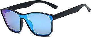 qiufeng - qiufeng Nuevas Gafas de Sol cuadradas polarizadas para Hombres y Mujeres, Gafas de Sol cuadradas para Hombre, diseño de Marca, Lentes de una Pieza, Gafas UV400, Negro, Azul