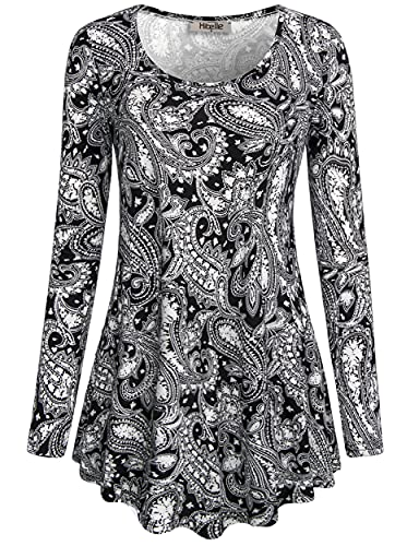 Black Tunic Shirts for Women,Hibelle Ladies Friday Deals Long Sleeve Loose Relaxed Fit Comfy Flowy Paisley Tops 2017 Black Medium