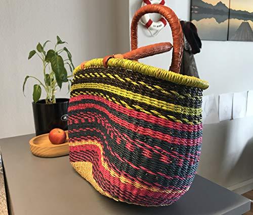 Originele Afrika shopper gevlochten boodschappenmand | Bolga boodschappenmand | handwerk | Bolga mand