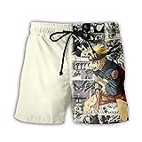 TSHIMEN Pantalones Cortos Hombre Element Naruto Pantalones Cortos de Verano para Hombre Sueltos Casual Personalidad Rectos Cortos Azul XXL