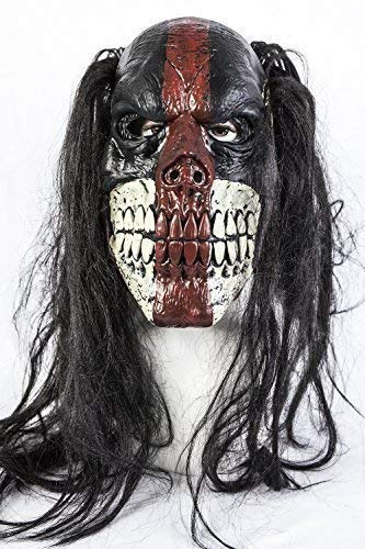De Rubber Plantation TM 619219290012 Zwarte Voodoo Killer Clown Halloween Fancy Jurk Latex Masker Kostuum Horror Accessoire, Unisex-Volwassene, One Size