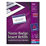 Avery 5390 Insert Badge Refill, Fits 2-1/4-Inch x3-1/2-Inch, 8/Sht, 400/BX, WE...
