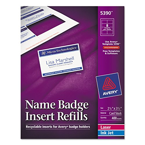 Avery 5390 Insert Badge Refill, Fits 2-1/4-Inch x3-1/2-Inch, 8/Sht, 400/BX, WE