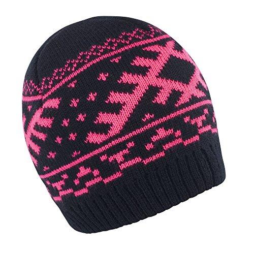 Result - Bonnet tricoté Style Nordique - Adulte Unisexe (Taille Unique) (Noir/Rose)