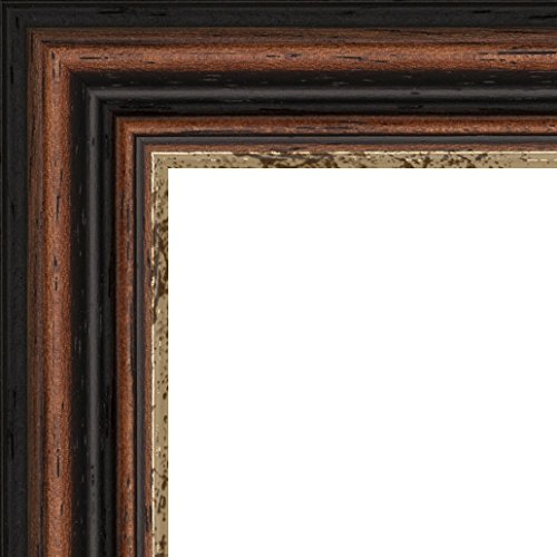 Effect Bilderrahmen Terilena Nußbraun Gold Bilderrahmen Holz 70x70 Antireflexglas mit Rückwand