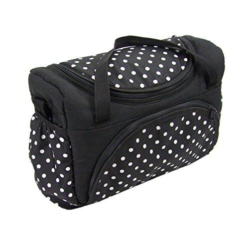 BAMBINIWELT Wickeltasche für Kinderwagen, Kinderwagentasche + Wickelunterlage (Schwarz kleine weiße Punkte)