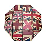 SLHFPX Compact Travel Umbrella Union Jack Patchwork Auto Umbrellas Windproof for Women Men