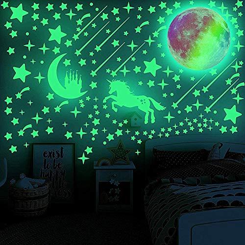 Leuchtsterne Selbstklebend Kinderzimmer Jungen Mädchen, Leuchtende Sterne Leuchten im Dunkeln Sternenhimmel Aufkleber Einhorn Leuchtsticker Mond Schloss Wandsticker Wandtattoo Leucht Wandaufkleber
