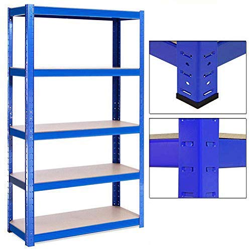 Heavy Duty 5 Tier Metal Garage Shelving Unit Boltless Storage Shelves Shed Kitchen Racking,150cm x 70cm x 30cm, Blue, 875KG Capacity(175KG Per Shelf)