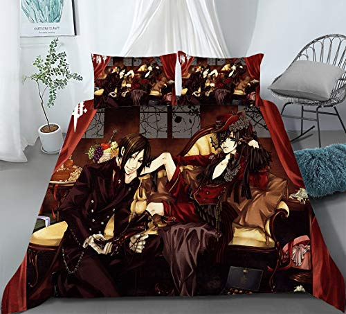HQHQH Black Butler Kuroshitsuji Ciel Phantomhive and Sebastian Michaelis Anime Quilt Cover Soft Breathable Comforter Cover Gifts for Boys Girls Anime Fans (US-King: 103.989.7 Inch)