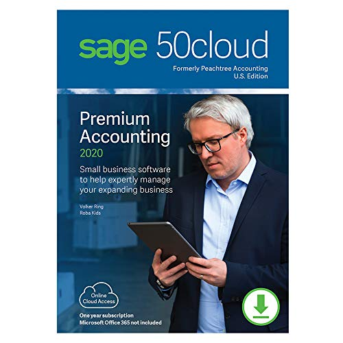 Sage 50cloud Premium Accounting 2020 U.S. 1-User One Year Subscription [PC Download]