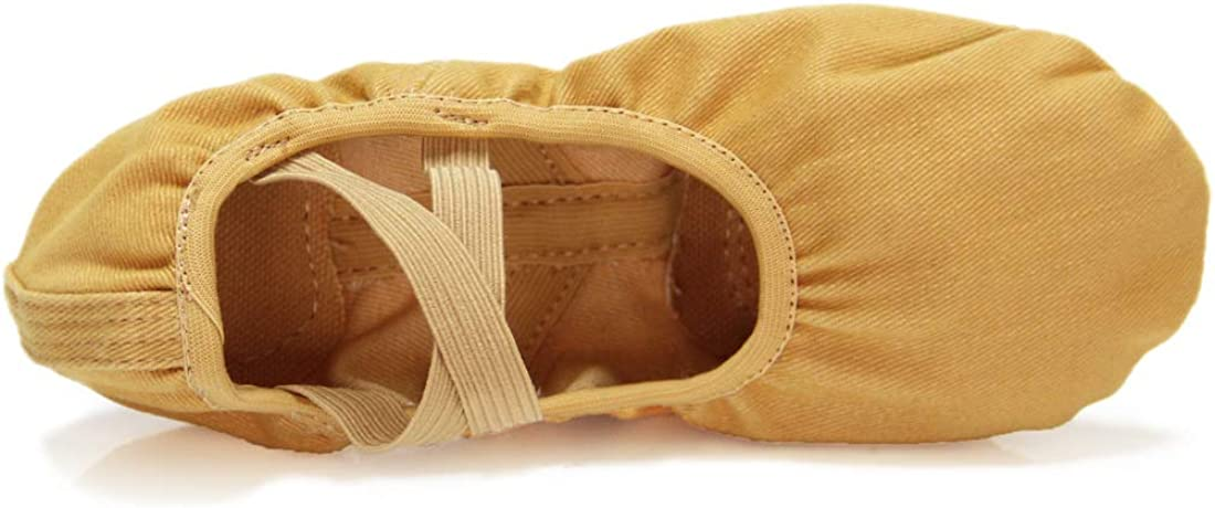 Wukaa Girls Ballet Shoes Stretch Canvas Ballet Slippers Shoes Yoga Dance Shoes