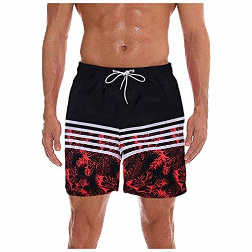 Pantalon Corto Hombre Deporte, Pantalones De Playa De Verano para Hombre con Rayas Negras En Camuflaje Estampado,Pantalon Trabajo Hombre, Pantalones Hippies Hombre, Pantalon Vaquero Corto Homb