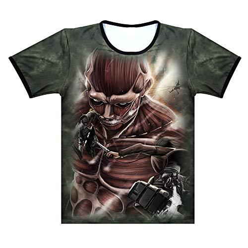 Memory meteor Attack on Titan T-Shirt 3D Graphic Imprimé Anime Tee-Shirt À Manches Courtes Unisexe Nouveauté Vêtements pour Hommes Femmes Et Jeunes,G,M