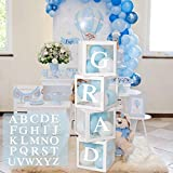 Birthday Party Baby Shower Decorations – DIY 4pcs White Transparent Boxes with A - Z Letters, Party Boxes Block for Baby Shower, DIY Name Combination, Birthday Boxes Gender Reveal Party Supplies