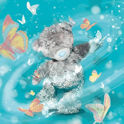Me To You Tatty Teddy 3D Holographic Card - Birthday Bear with Butterflies