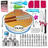 174 PCs Cake Decorating Supplies Kit for Beginners-1 Turntable stand- Cake server & knife set-48...