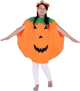 Adult Unisex Halloween Party Pumkin Costume Dress Up Set Orange 2PCS with A Hat
