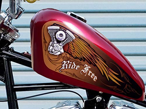 East Coast Vinyl Werkz - V Twin Wings - Ride Free (Leather Brown) 3pc Fuel Tank Decal Set for Harley Davidson Sportster 883 1200 Iron 48