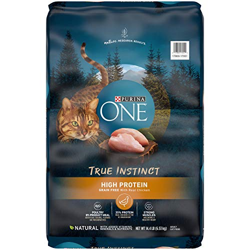 Purina ONE Natural, High Protein, Grain Free Dry Cat Food, True Instinct With Real Chicken - 14.4 lb. Bag