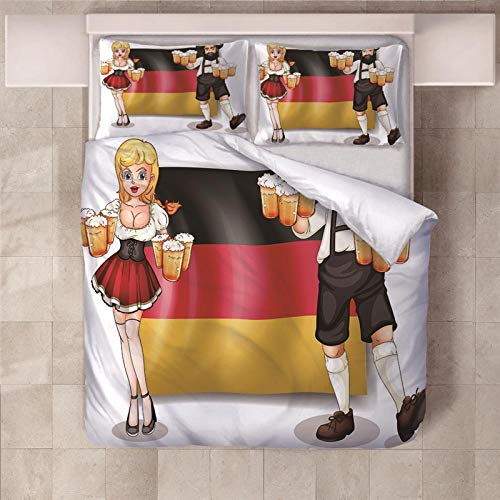 PERFECTPOT Super King Duvet Cover Set Beer Printed Bedding Sets in Polyester, 1 Quilt Cover with 2 Pillowcases for Children Boys Girls Adults, 260 x 220 cm
