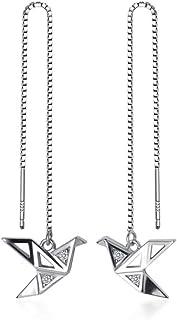 Origami Paper Crane Dangle Drop Earrings Sterling Silver Good Luck Cute Tassel Threader Long Chain Ear Line Stud Earring M...