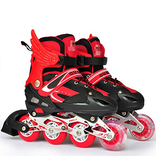 YSCYLY Roller Hockey Skates,PVC Wheels Single Flash Adjustable,Christmas Birthday Gift for Girls and Boys