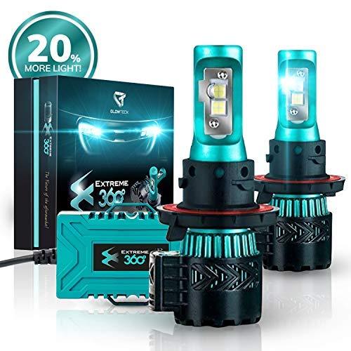 Glowteck LED Headlight Bulbs Conversion Kit - H13 (9008) Cree XHP50 Chip 12000 Lumens/Pair 68 Watt 6500 Kelvin 2 Year Warranty
