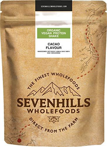 Sevenhills Wholefoods Organic Vegan Protein Powder Shake, Cacao (Chocolate) 500g