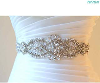 ParDecor Wedding-Bridal-Sash-Applique-Crystal-Belt Wedding Rhinestone Belt Shoe Rhinestone Applique Applique for Bridal Dress Maternity Wedding Sash