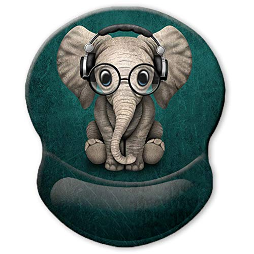 ITNRSIIET Ergonomic Mouse Pad with Gel Wrist Rest Support, Personalized Cute Green Pattern Headset Music Elephant, Pain Relief Comfort Wrist Rest Pad with Non-Slip PU Base for Home, Office