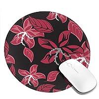 深いピンク 花 花柄 丸型 マウスパッド ゲーミングマウスパッド パソコン 周辺機器 光学式マウス対応 オフィス自宅兼用 防水 洗える 滑り止め 高級感 耐久性が良い 20*20cm