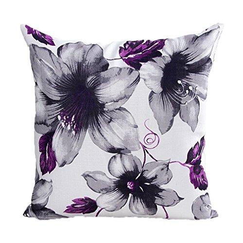 ZXKEE cojines Cover Lotus Imprimir decorativos funda cojin Plaza 45x45 cm (Púrpura)
