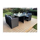Mon Usine LSR-310-BK/GR 4C Le Vito Salon jardin encastrable en résine Noir 115 x 115 x 73 cm