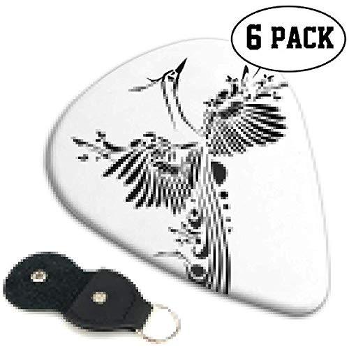Gitaar Picks 6 stuks, Minimalistische Stijl Vliegende Mystieke Vogel Herboren Veren Vleugel Tattoo Japanse Kunst