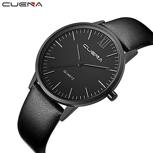 Armbanduhr herren Liusdh Uhren Mode einfach schwarz matt Zifferblatt Uhr Business Herrenuhr Leaderband Uhr(G,Einheitsgröße)