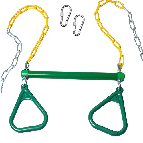 Trapeze Bar with Rings for Swing Set  Outdoor Playground Equipment Swing Bar