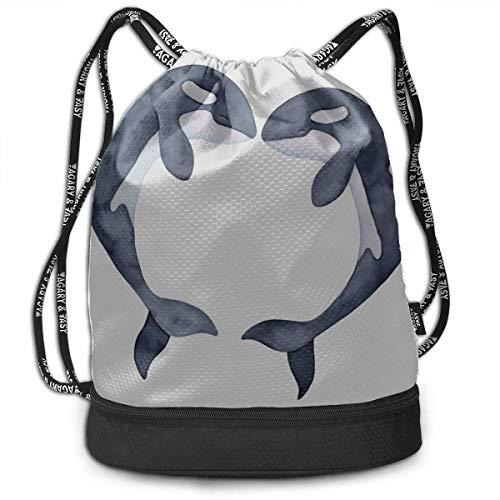 OKIJH XL Gym Bag for Women Dolphoin Romantic Story Gym Drawstring Bags Backpack Sports String Bundle Backpack for Sport with Shoe Pocket Gym Bag Mini