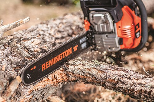 Remington RM4618 Outlaw 46cc 2-Cycle 18-Inch Gas Powered Chainsaw with Carrying Case Automatic Chain Oiler and 5-Point Anti Vibration System, 46 cc-18, Orange