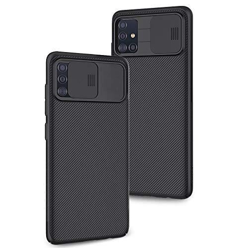 XTCASE Cover per Samsung Galaxy A71 [Protezione Fotocamera] Ultra Sottile Slide Custodia per Fotocamera Proteggi, Duro PC Case [Antiscivolo AntiGraffio Antiurto] - Nero