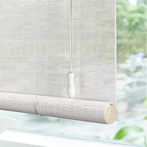 Persianas de Bambú Natural Blanca,Persiana Enrollable Romanas,Estor de Bambú,Transpirable,UV,Cortina de Bambú Opaca para Dormitorio/Cocina/Galería/Oficina,Personalizable (100x140cm/39x55in)